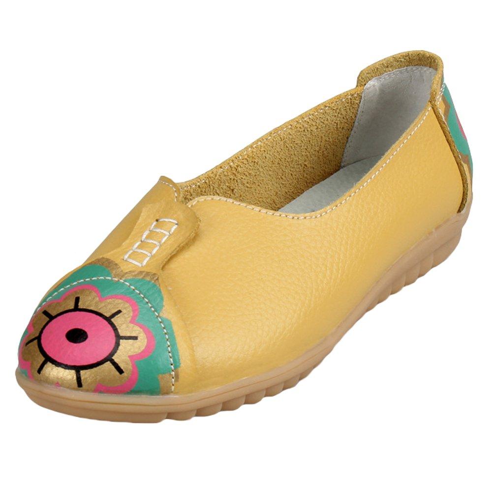 Vogstyle Femmes Mocassins Motif Cuir Chaussures Tendance Motif Chaussures Plates Vintage B079QJV6WS Jaune c85abe1 - therethere.space