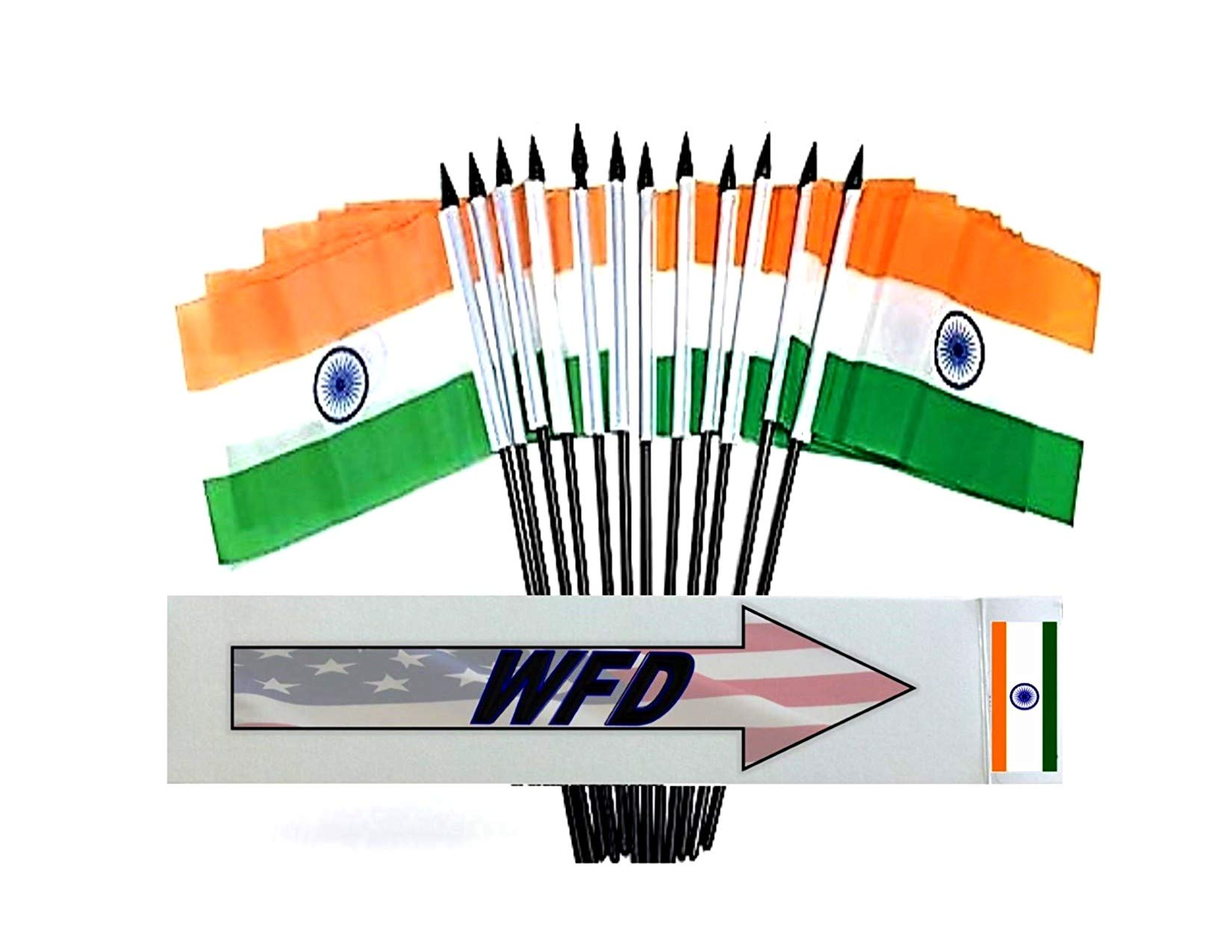 India Desk Flag Small Mini Indian Office Table Flag with Stand Base Decorations,2 Pack