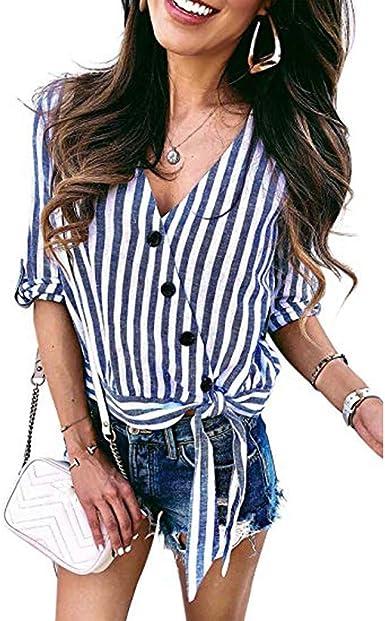 SEWORLD Camiseta Botón de Mujer con Cuello en V a Rayas ...