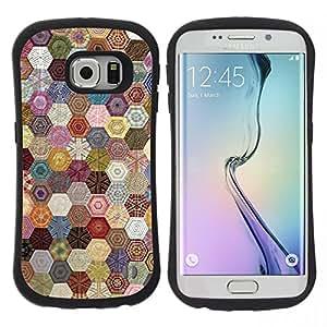"Hypernova Slim Fit Dual Barniz Protector Caso Case Funda Para Samsung Galaxy S6 EDGE [Hexagonal patrón de costura Tela""]"