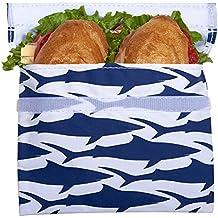 Lunchskins Reusable Quart Bag, Navy Shark