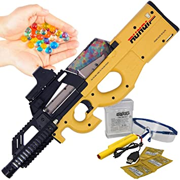 GelSoft™ USB Electric Long Range Secret Service Kids Full Auto Soft Water  Crystal Ammo Beads Ball P90x Tan Colour Toy Gun Blaster Rifle New for 2019