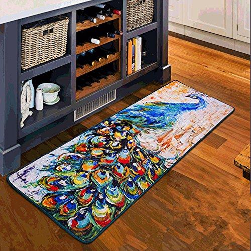 USTIDE Abstract Colorful Peacock Print Kitchen Rugs Vintage Floral Bedroom Decoration Bedside Rug Durable Prevent Dirt Door Mat Non-Skid Bathroom/Laundry Rug Floor Runner, 15.8''x47''