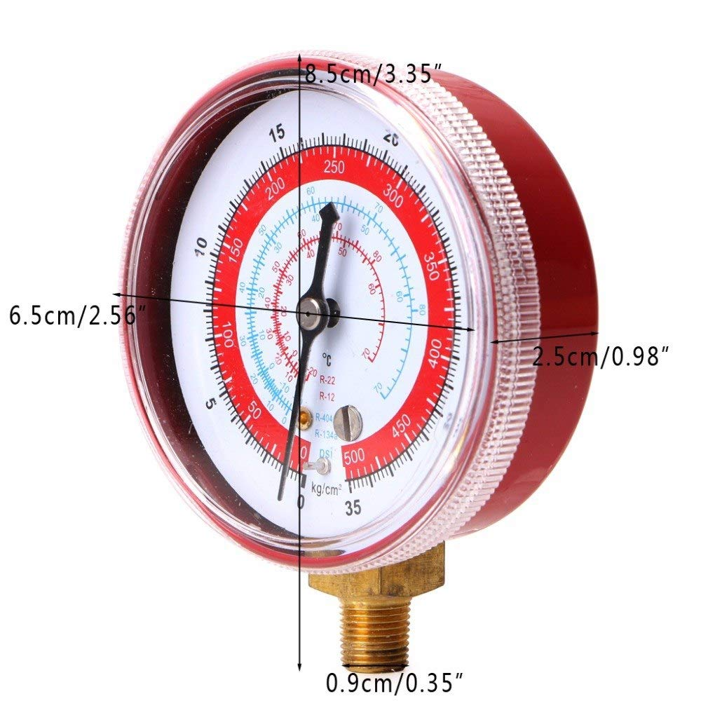JYYC Air Conditioner R404 R134A R22 R12 Refrigerant High PSI KPA Pressure Gauge Red
