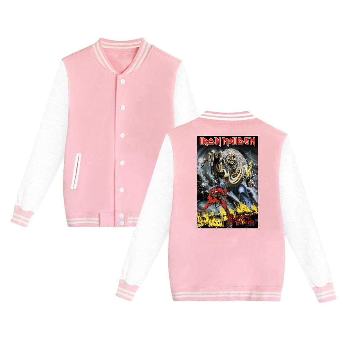 6cb3314a Pink Unisex Women's Varsity Baseball Uniform Jacket Jacket Jacket Iron  Maiden The Number Of The Beast Sport Coat Winter Sweatshirt Velvet 4acf84