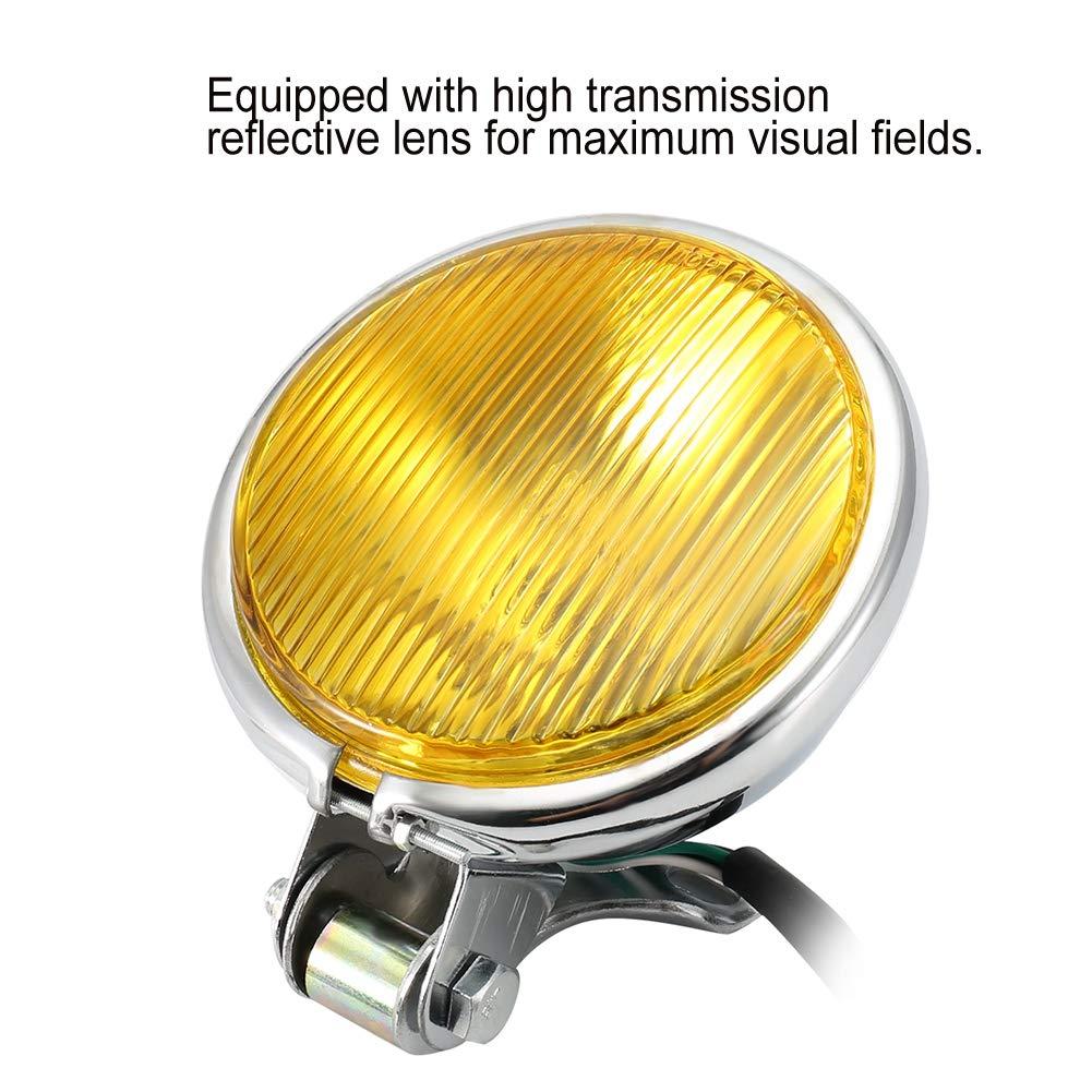 Linterna de la Motocicleta Universal Retro Amarillo Lente de Metal C/áscara de la L/ámpara del Faro de la Moto Luces de Faros Amarillo