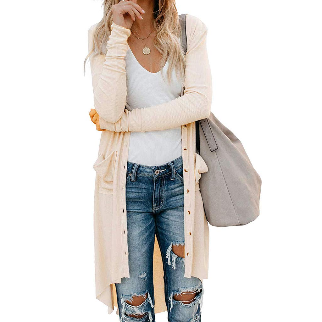 OFEFAN Women Long Sleeve Solid Color Snap Button Down Knit Ribbed Cardigans Outwear Beige