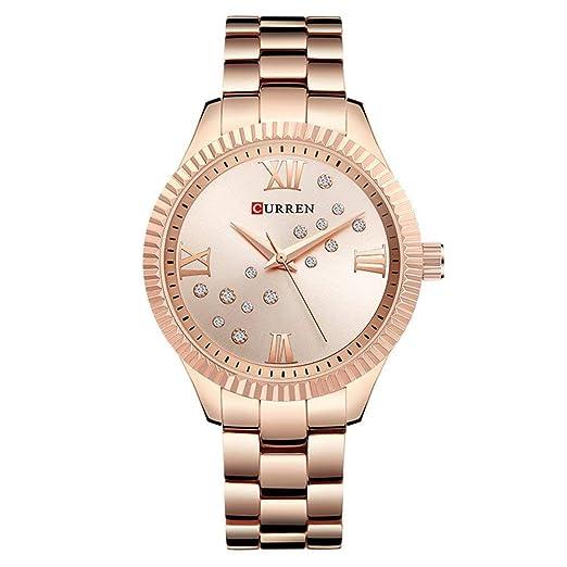 Relojes Curren para Mujer Reloj de Cuarzo de Lujo de Primera Marca, Impermeable, Acero Completo Relojes para Mujer: Amazon.es: Relojes