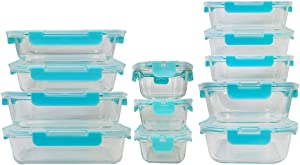 24 Piece Glass Set Food Storage Containers BPA Free Meal Prep Easy Snap Lids Latches High And Low Temperature Resistance Leak-Proof Freezer Dishwasher Oven Microwave Safe (24 Piece set, Blue Latches)