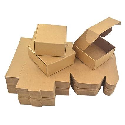 Enerhu 50pcs Caja de Regalo Cuatro Tamaños Cajas de Papel Kraft para Jabón Cajas de Pastel