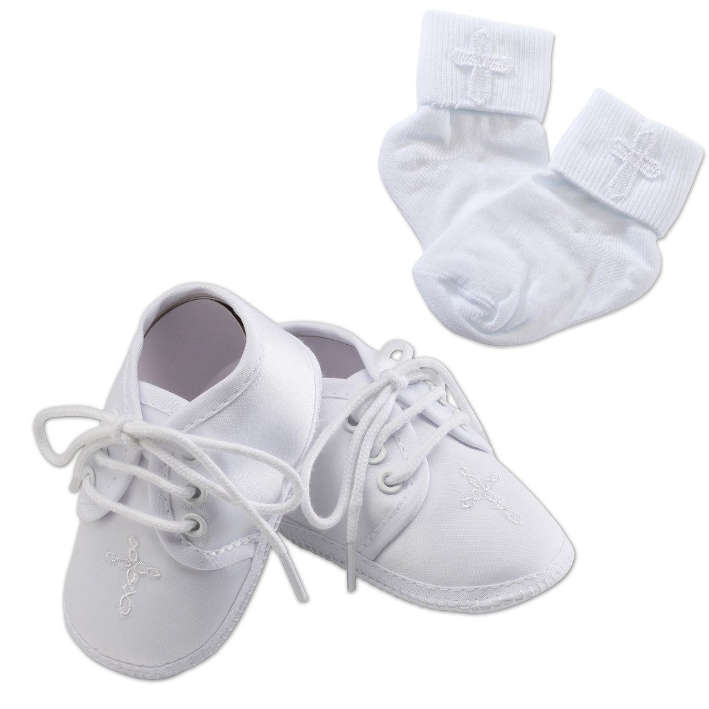 Paisley Keepsake White Baptism Baby Shoe and Sock Set with Cross Embellishment