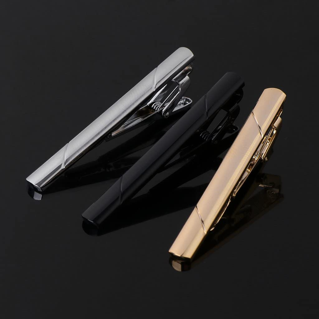 Mixed Color Bar Alloy Mirror Classic Style Business Accessory LANDUM 3 Pieces Tie Clip for Mens