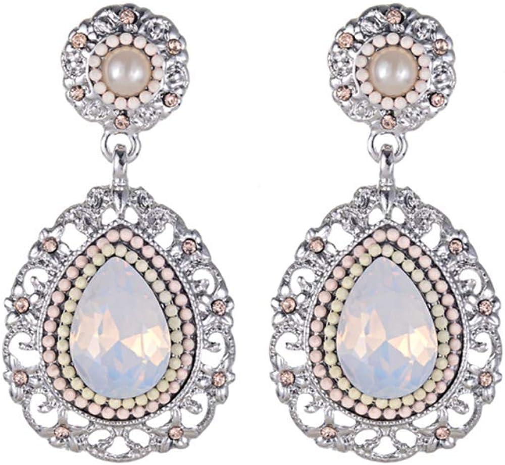 Pendientes largos de gota de agua de perlas de resina Aleación de color femenino Pendientes de gota femeninos Pendientes de joyería de oreja de moda