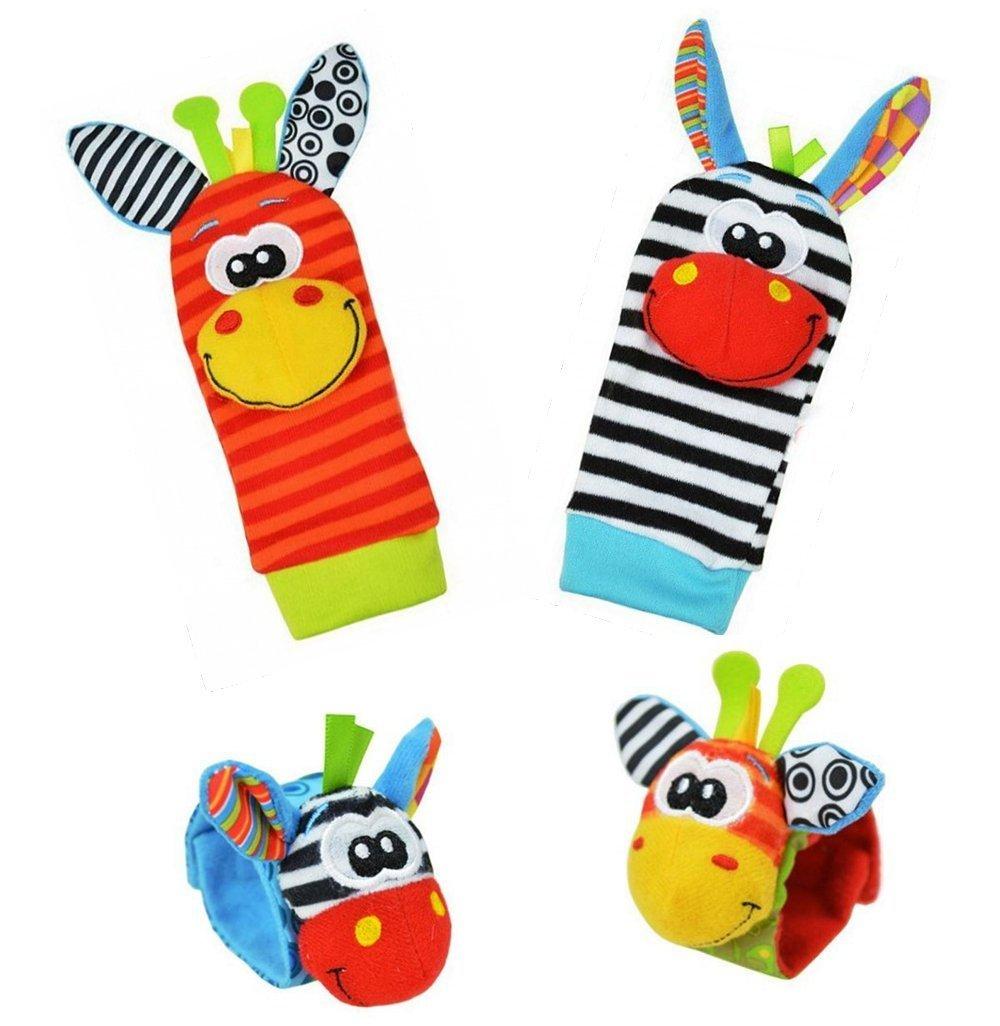 Baby Learning Fun - Animal Wrist and Sock Rattle Soft Developmental Toy Gift Set 4 Pcs - Zebra & Giraffe Sozzy