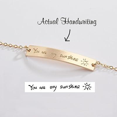 Custom Handwriting Bracelet-Actual Handwriting Bar-Personalized Memorial Signature-Kids Handwritten Note-Gold-Rose-Silver-CG250B