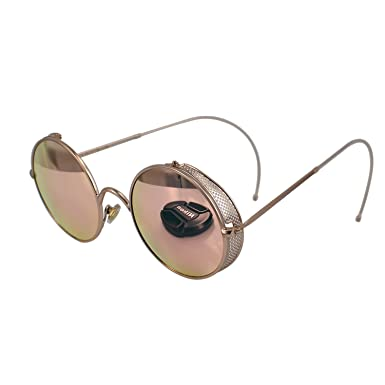 37d71d4d89b Image Unavailable. Image not available for. Color  Ucspai Retro Steampunk  Sunglasses Goggles Rose Gold Frame with Reflective Lens