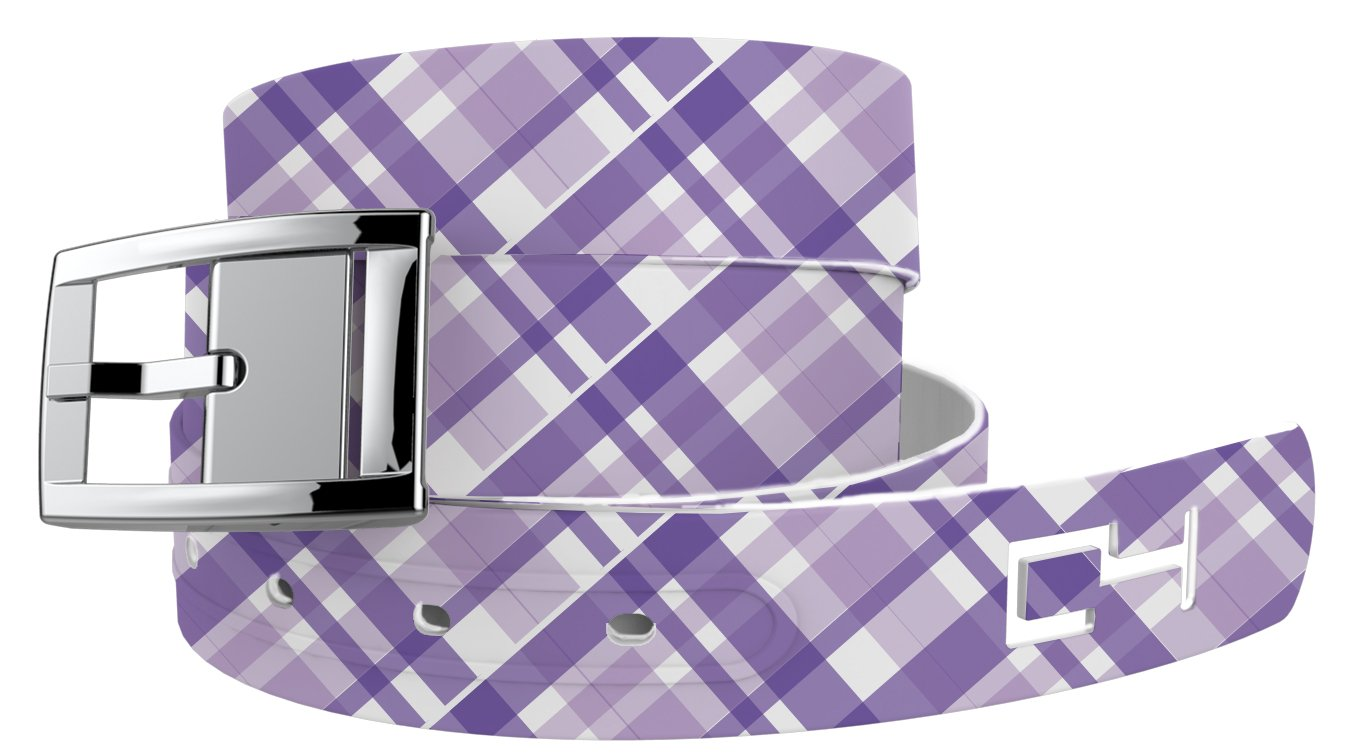 Summer Plaid Purple Golf Belt with Silver Buckle - Adjustable for waist size up to 44 inch, hypoallergenic - by C4 Belts