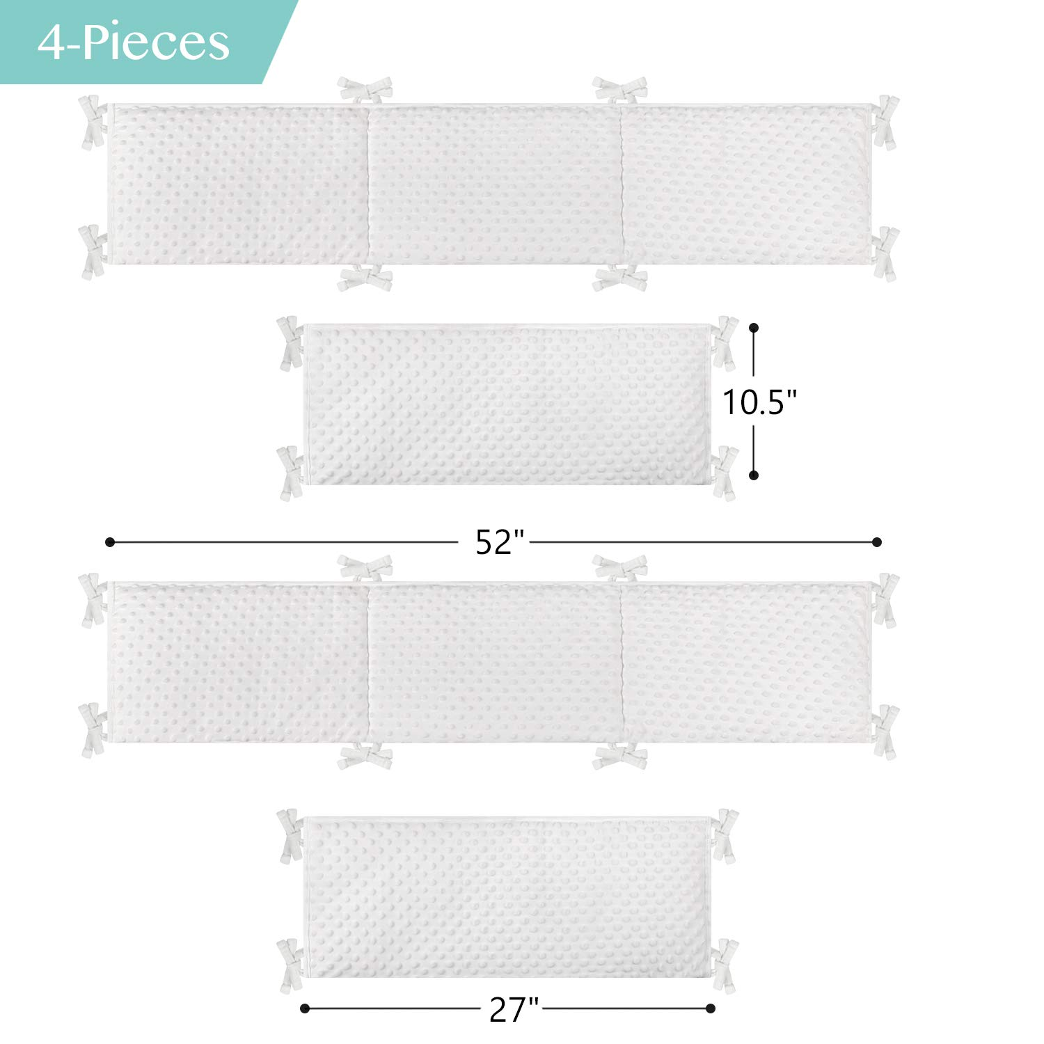 Machine Washable Thick Plush Crib Cushion for Winter Ultra Soft Warm Padding for Nursery Bed Cream TILLYOU Baby Safe Minky Dot Crib Liner Protector for Standard Cribs 4-Piece Pillow de Cuna