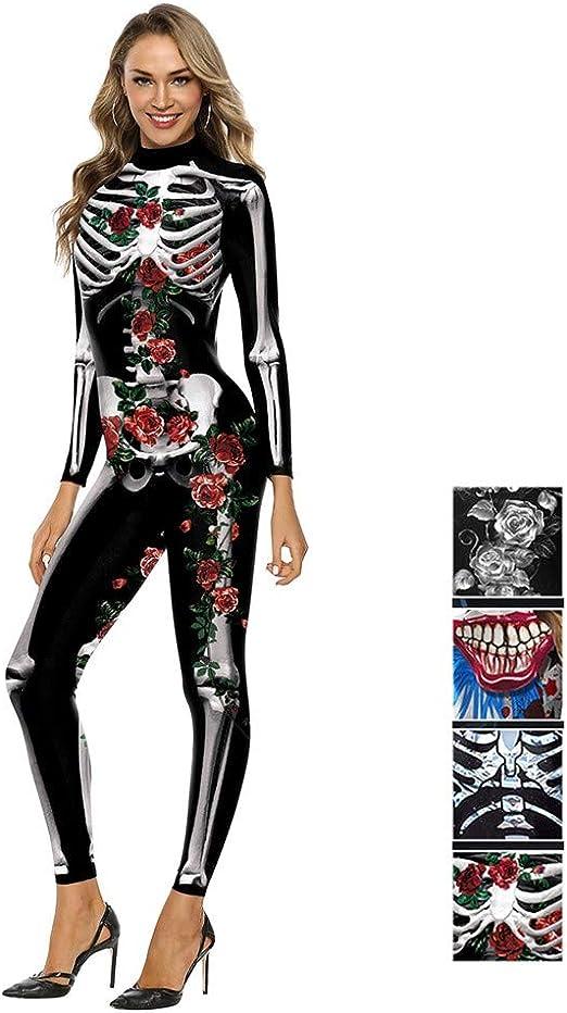 Nwlzx Halloween Disfraz de Esqueleto Mujer,con Enterizo Ajustado ...