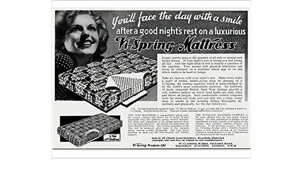 Impresión fotográfica de anuncio de vi-Spring colchón 1938: Amazon.es: Hogar
