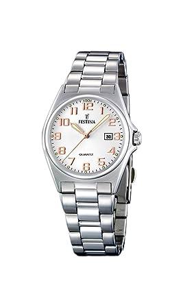 Festina F16375/7 - Reloj analógico de cuarzo para mujer con correa de acero inoxidable, color plateado: Festina: Amazon.es: Relojes