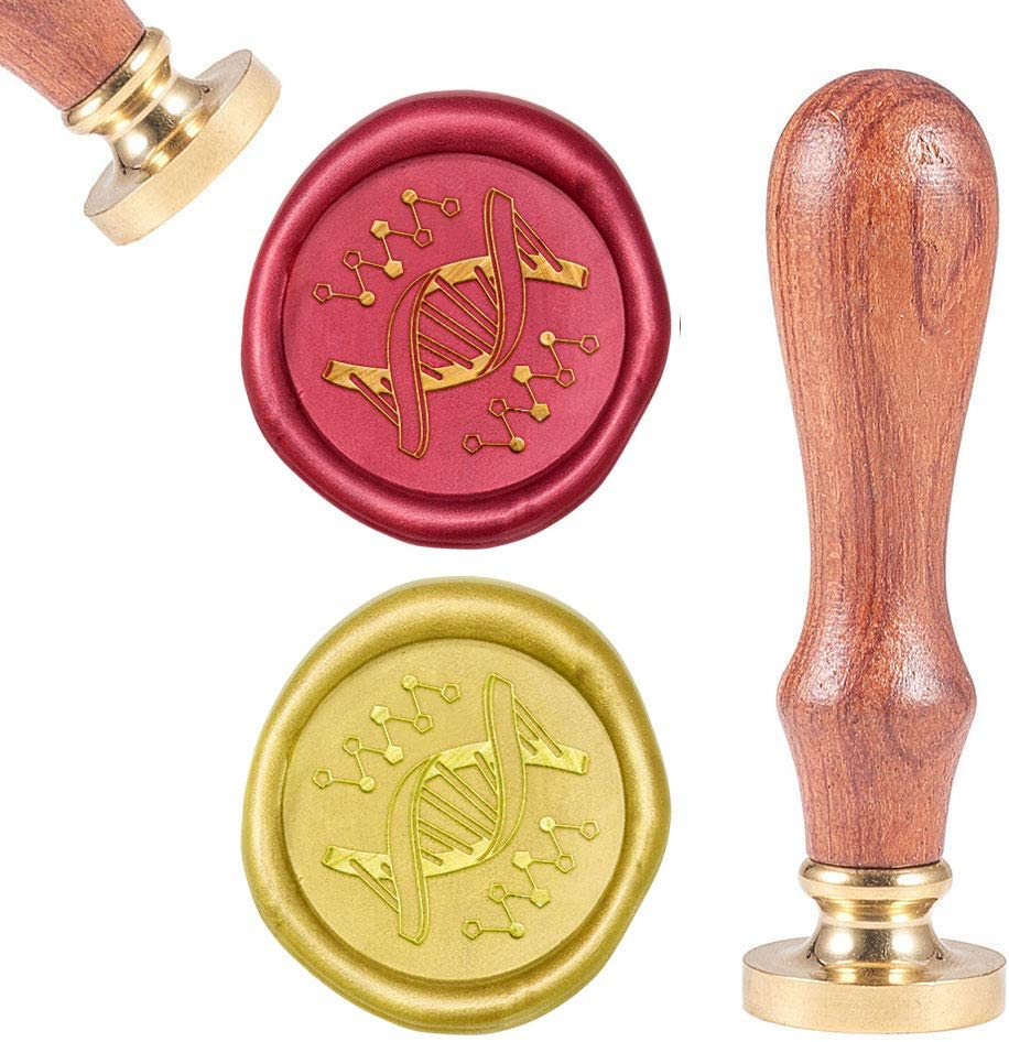 CRASPIRE Wax Seal Stamp DNA, Sealing Wax Stamp Retro Wood Stamp Wax Seal 25mm Removable Brass Head Wood Handle for Academic Seminar Party Invitation Envelope Greeting Card Wine Bottle Decor