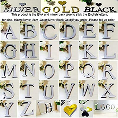 Alphabet Decals Sikye 26 Letters (A-Z) 3D Mirror Acrylic Wall Sticker DIY Alphabet Wall Mural for Bedroom,Nursery and Kids Room