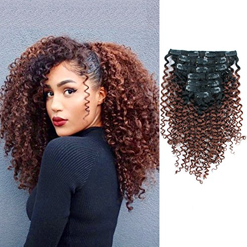 AmazingBeauty 8A 3B 3C Double Weft Jerry Curly Remy Hair Extensions Clip in Human Hair for Black Women, Two Tone Color, 7 Pieces, 115 Grams