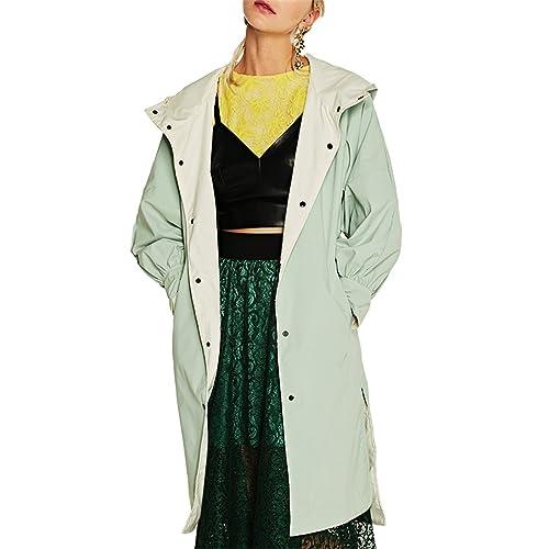 Honghu Mujer Casual Manga Larga Chaquetas Ocio Encapuchado Abrigos Otoño e Invierno Outwear Coat