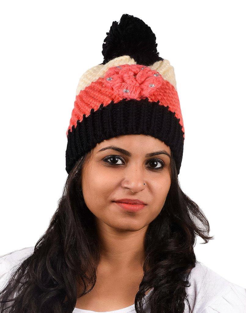 f02838f289a Tiekart women multi floral wollen cap  Amazon.in  Clothing   Accessories