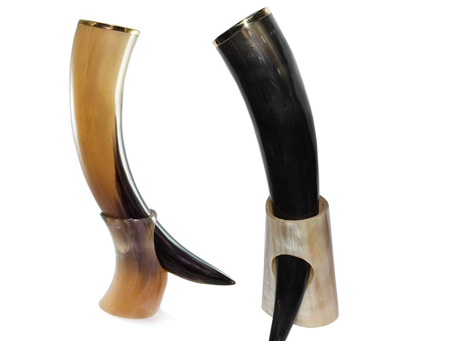 Replicartz Real Viking Genuine Drinking horn Food Safe Cup – No Leaks – Norse Drinking Beer Mug with 20 oz Capacity Best…