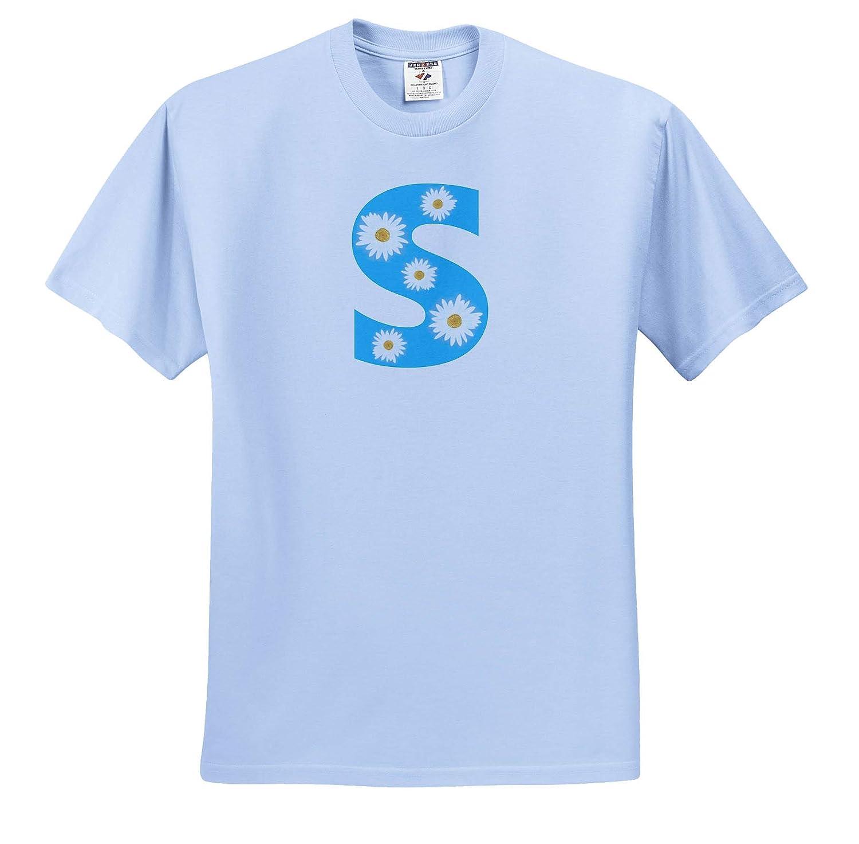 ts/_315638 Adult T-Shirt XL Painting of White Daisy Flowers on Sky Blue Monogram Letter S 3dRose CherylsArt Monograms
