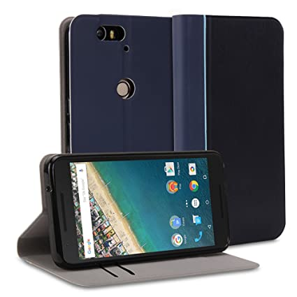 on sale 98e45 67806 Nexus 6P Case, GMYLE Wallet Case Slim for Google Nexus 6P – Navy Blue Smart  Shell Wallet Case