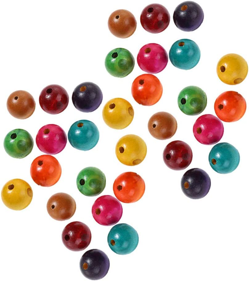 SUPVOX Colored Wood Beads Wooden Spacer Beads Finished Craft Beads Wooden Loose Beads for DIY Craft Handmade Jewelry 25mm 100pcs
