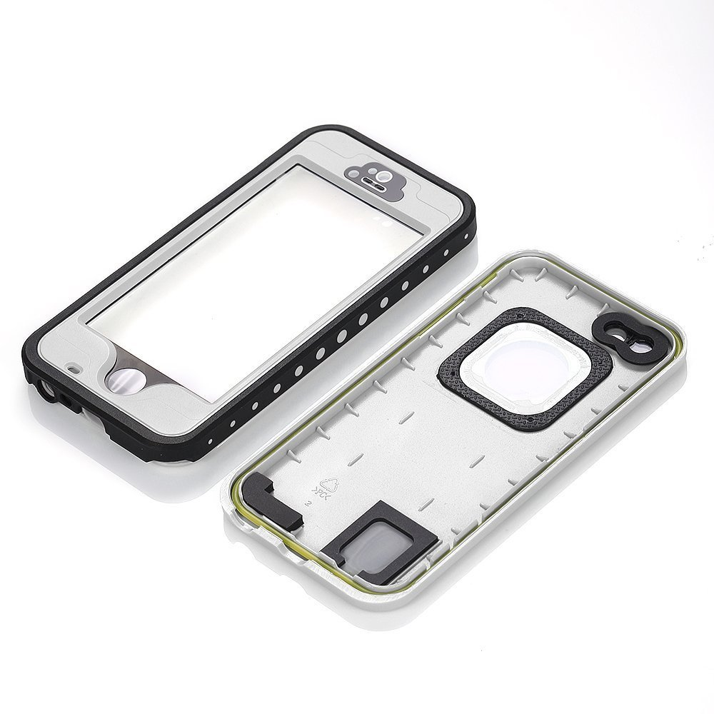 iPhone 5S Waterproof Case, Bessmate IP 68 Waterproof, Dustproof, Snowproof, Shockproof Protrctive Carrying Cover Cases with Fingerprint Recognition Touch ID for iPhone 5S (White) by Bessmate™ (Image #4)