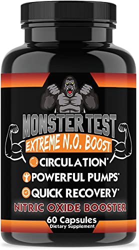 Monster Test Nitric Oxide Booster by Angry Supplements, Extreme N.O Boost, Increase Circulation, Powerful Workouts, Quick Recovery Energy 1-Bottle