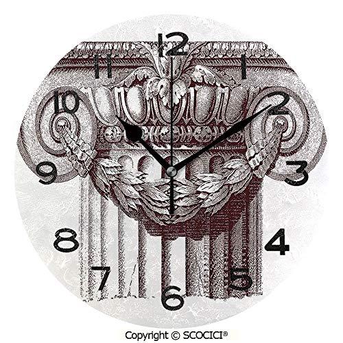 SCOCICI Print Round Wall Clock, 10 Inch Classical Antique Column Roman Empire Architecture Heritage Culture Print Quiet Desk Clock for -