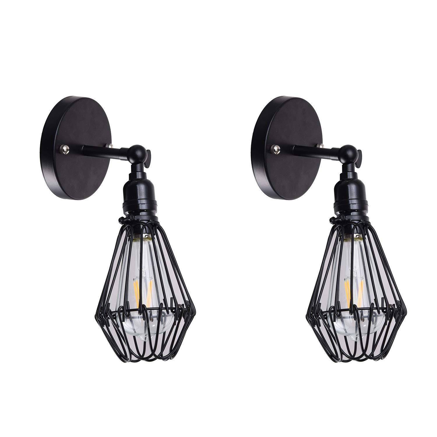 CEENWE Wire Cage Industrial Wall Sconce Plug-in Wall Light Shade Vintage Style Edison E26 Base with Dmmer Switch for Headboard Bedroom Garage Porch Light 2 Packs