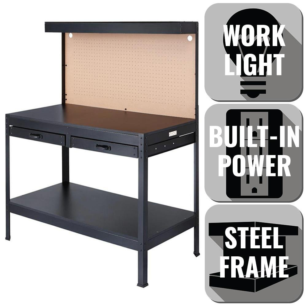 OLYMPIA 4 ft. W x 5 ft. H x 2 ft. D Black Steel, 3 Convenient Power Outlets, Rugged Steel and Wood Construction Built to Last, Workbench with Built-In Power and Lighting to Illuminate Workspace