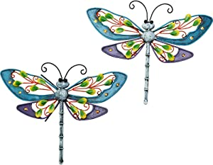 Sungmor 2 Pack Multicolored Dragonfly Wall Hanging Art Decor - 11.4×9.05 Inch Constructed Metal Graceful Dragonfly - Wall Hanging Art Figurines for Garden Patio Yard Home Ornaments