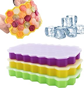 Ice Cube Tray with Lids,3-Pack 111 Ice Cubes Food Grade Silica Gel Flexible with Spill-Resistant Removable Lid Ice Cube Molds for Chilled Drinks
