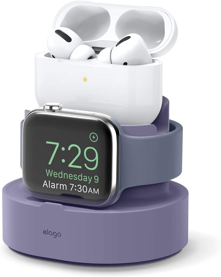elago 2 in 1 Charging Station for Apple Products, Designed for Apple AirPods Pro, iPhone 11 Pro Max/11 Pro, All Apple Watch Series [Original Cables Required-NOT Included] (Lavender Grey)