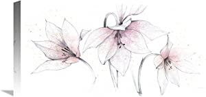Global Gallery Avery Tillmon 'Pink Graphite Floral Trio' Giclee Stretched Canvas Artwork, 24