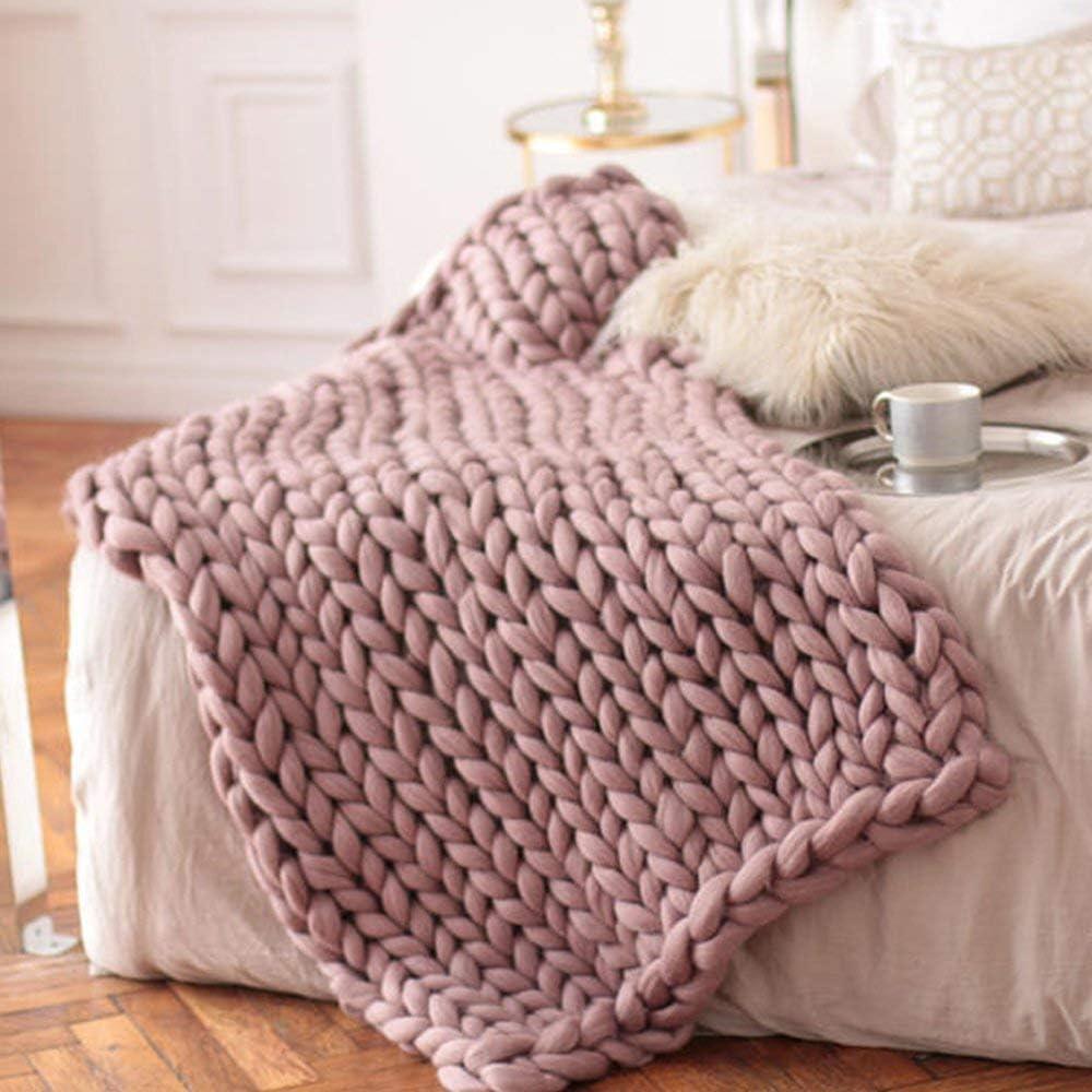 Chunky Blanket,Dusty Pink Chunky Knit Throw,40x47in Arm Knitted Blanket,Wool Blanket,Chunky Knit,Giant Blanket,Merino Wool Blanket