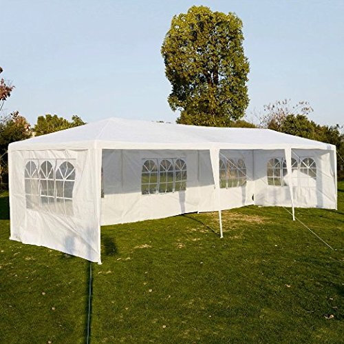 Hooden Heavy Duty 10'x30' Outdoor Canopy Gazebo Tent Upgraded Thick Tube, Waterproof Sun Shelter, Instant Folding, UV Protection Party Wedding, Beach, Backyard, Patio, Pool(White)