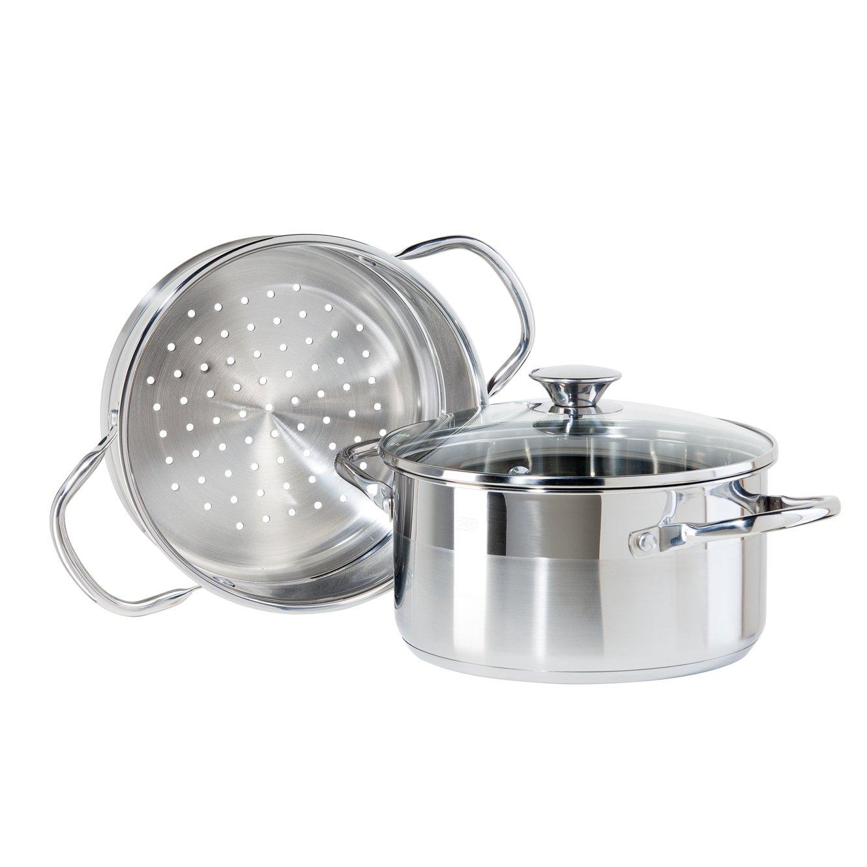 Oggi 5625.0 3-Piece Stainless Steel Vegetable Steamer Set