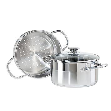 Superb Oggi 5625.0 3 Piece Stainless Steel Vegetable Steamer Set