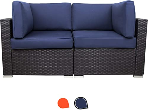 EXCITED WORK Patio Sectional Furniture Corner Sofa,Low Back All-Weather Wicker Loveseats Outdoor Rattan Couch Set Conversation Sets Dark Blue
