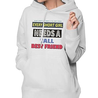 9b01b88d9c Amazon.com  Womens Hoodie Cute Best Friend Tall And Short Matching ...