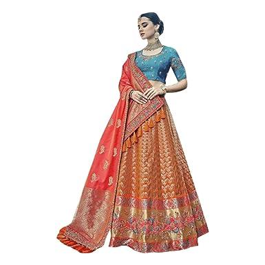 ef58ea97c4 Amazon.com: Bridal Royal Wedding Designer Collection of Silk Lehenga Ghagra  Choli Dupatta Custom to Measure Indian Muslim Eid 2741: Clothing